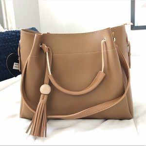 Brown Hand Bag Gold Hardware Vegan Leather purse